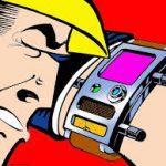 Serieteckning där Dick Tracy betraktar sitt armbandsur som bland annat har en liten tv-skärm.