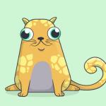 Tecknad katt, fet, sittande, mörkgul med ljusgula fläckar och stora runda ögon.