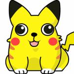 Tecknad gul fet hund, sittande, sedd rakt framifrån, med svarta öronspetsar och några röda fläckar.